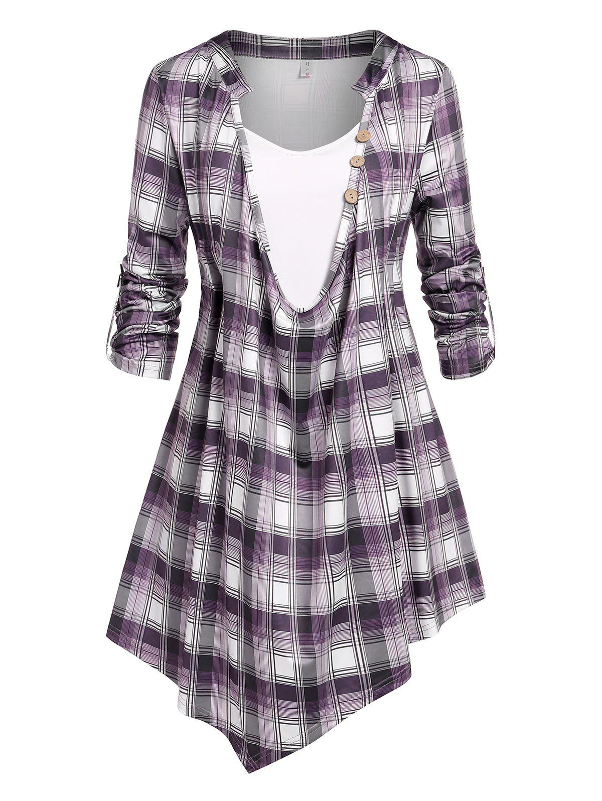 Plus Size Roll Up Sleeve Plaid Cowl Front Tee - LIGHT PURPLE 4X