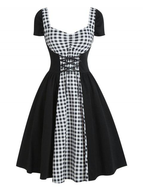 Star Gingham Lace Up Ruched Vintage Dress