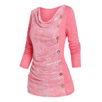 Ruched Lace Buttons Asymmetrical T Shirt