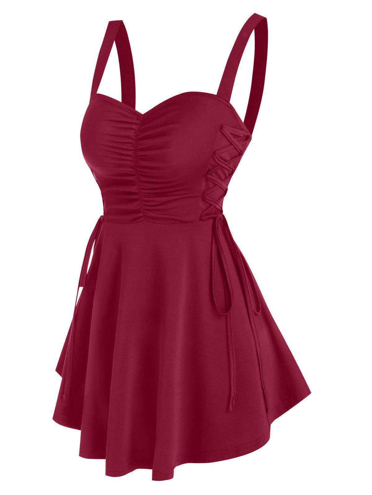 Lace Up Ruched Solid Tunic Tank Top - DEEP RED M