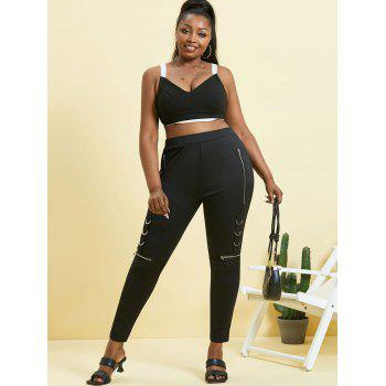D-ring Zippered Front Plus Size Skinny Pants