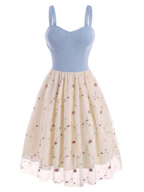 Flower Embroidered Lace Insert Cupped Dress