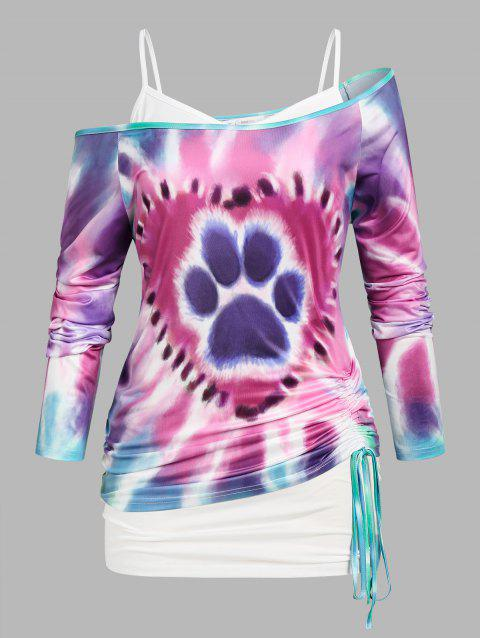 Plus Size Skew Neck Tie Dye Cinched Tee and Tank Top Twinset