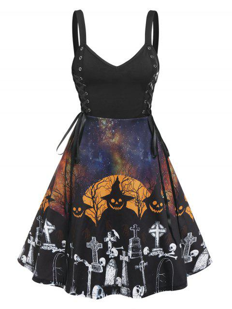 Halloween Lace Up Gothic Printed Dress