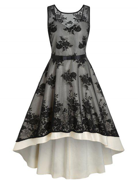 Flower Patterned Lace Overlay Belted High Low Dress