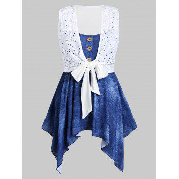 Plus Size Front Tie Broderie Anglaise Top And Handkerchief Cami Set