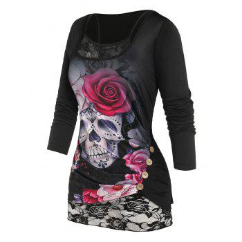 Plus Size Mock Button Skull Flower T Shirt with Lace Insert Camisole