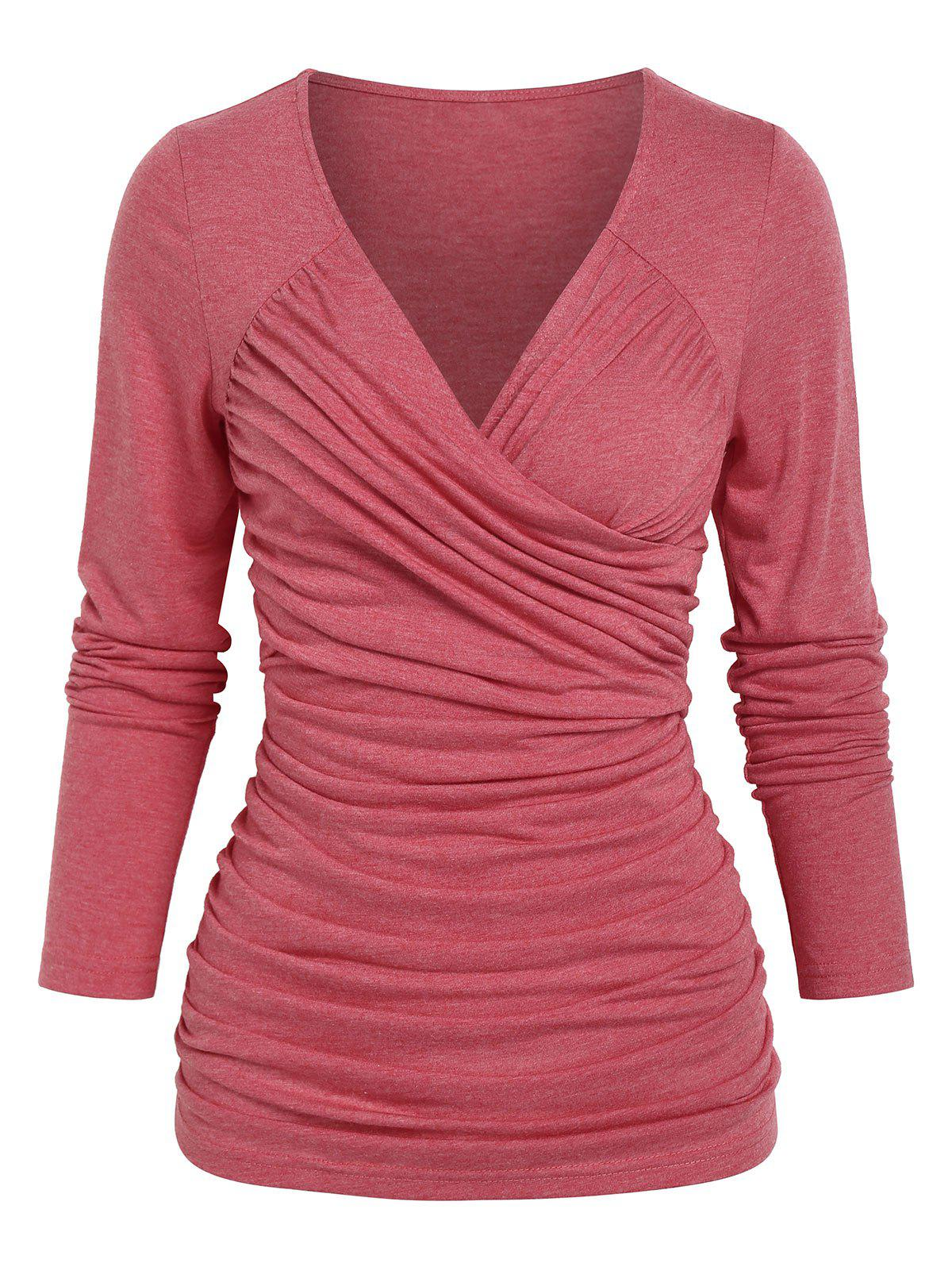 Surplice Ruched Casual T Shirt - RED XXL