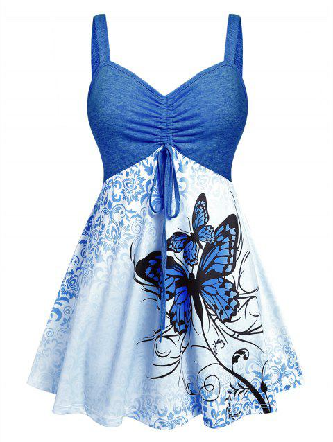 Plus Size Butterfly Print Skirted Tied Tank Top