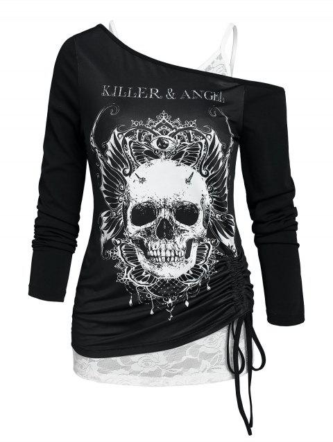 Halloween Skull Cinched Tie Tee and Lace Cami Top Set