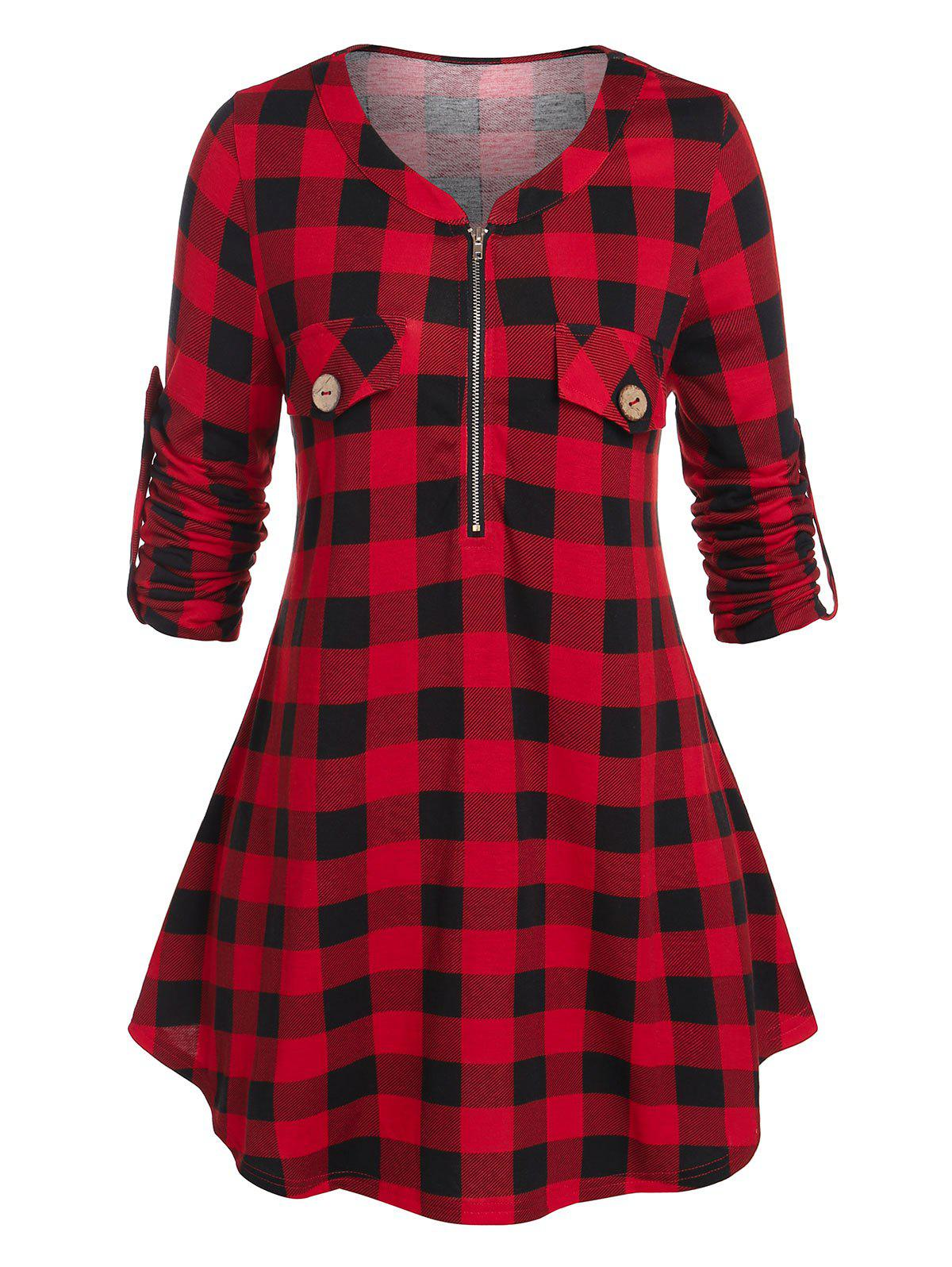 Plus Size Plaid Zip Roll Up Sleeve Tunic Tee - RED 2X