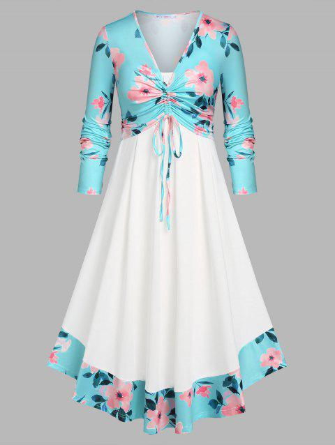 Plus Size Floral Cinched Front Top and Dress Set