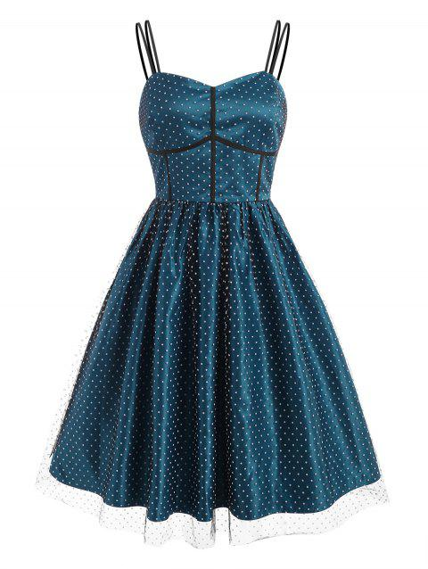 Swiss Dot Mesh Overlay Vintage Fit and Flare Dress