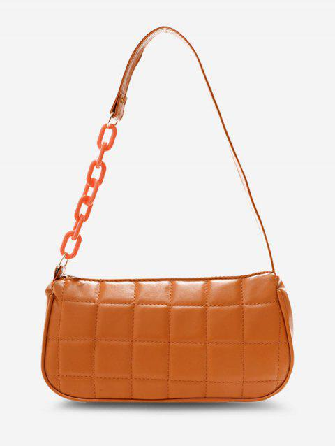Square-Quilted Half Chain Shoulder Bag
