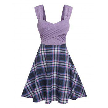 Front Cross Ruched Plaid Pattern Dress