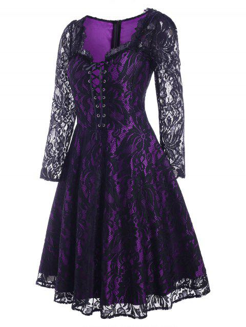 Vintage Halloween Lace Up Pin Up Dress