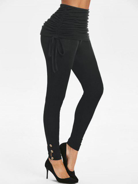 High Rise Ruched Cinched Waist Skinny Pants