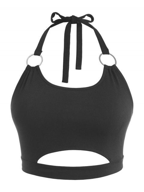 Plus Size Halter Ribbed Rings Keyhole Cutout Top