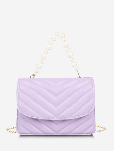 Zigzag-Quilted Faux Pearl Crossbody Bag