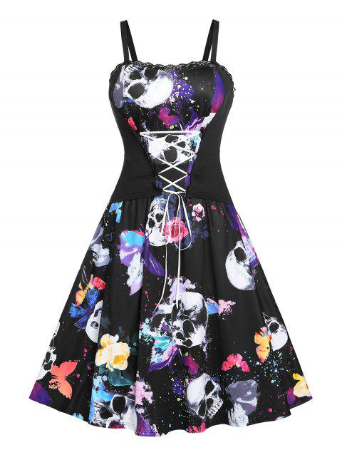 Plus Size Butterfly Skull Print Lace Up Halloween Dress