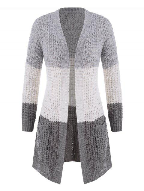 Plus Size Colorblock Chunky Open Front Cardigan