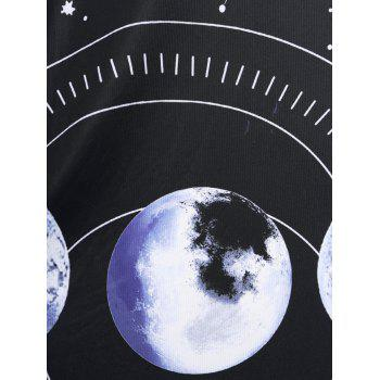 Plus Size Crossover Moon Phase Print Dress