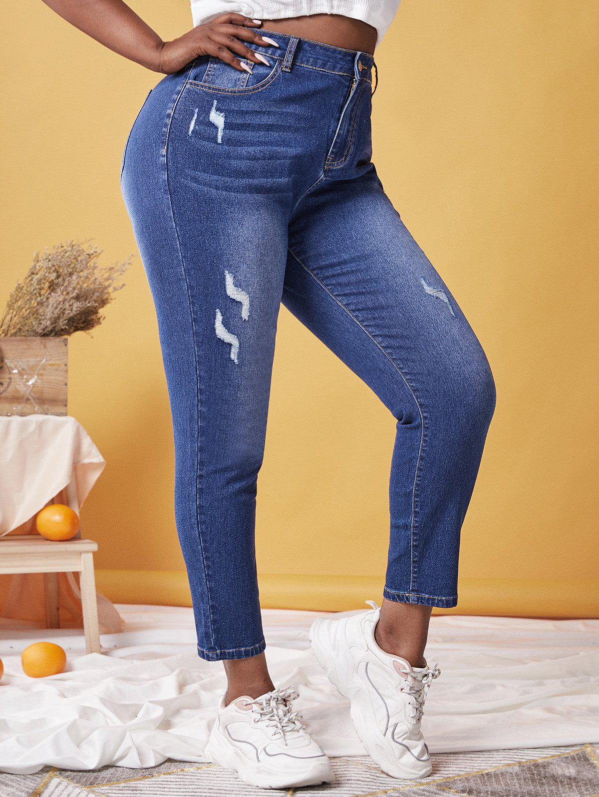 Plus Size High Waist Faded Ripped Skinny Jeans - DEEP BLUE 5X