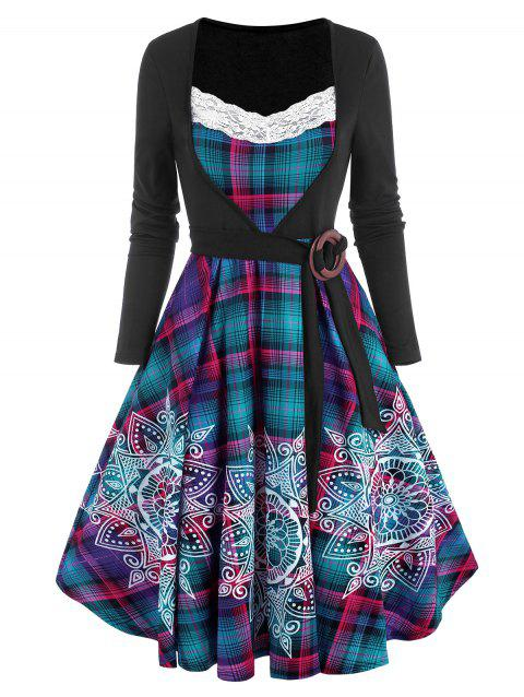 Plaid Bohemian Flower Print Lace Insert O Ring Belted Dress
