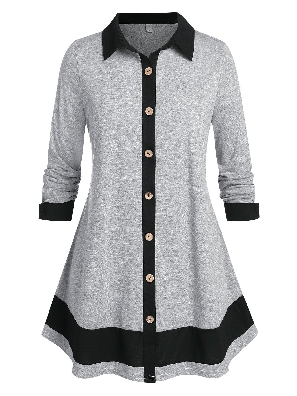 Plus Size Button Up Bicolor Long Sleeve Tunic Shirt - GRAY 2X