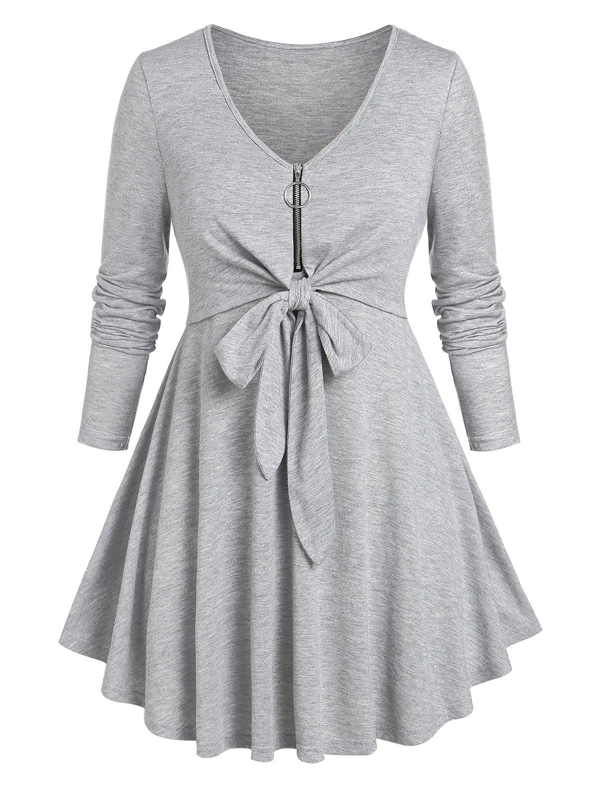 Plus Size Half Zip Knotted Long Sleeve Tee - LIGHT GRAY 5X