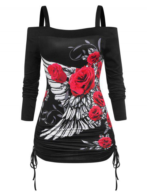 Plus Size Cold Shoulder Cinched Rose Wings Print T-shirt