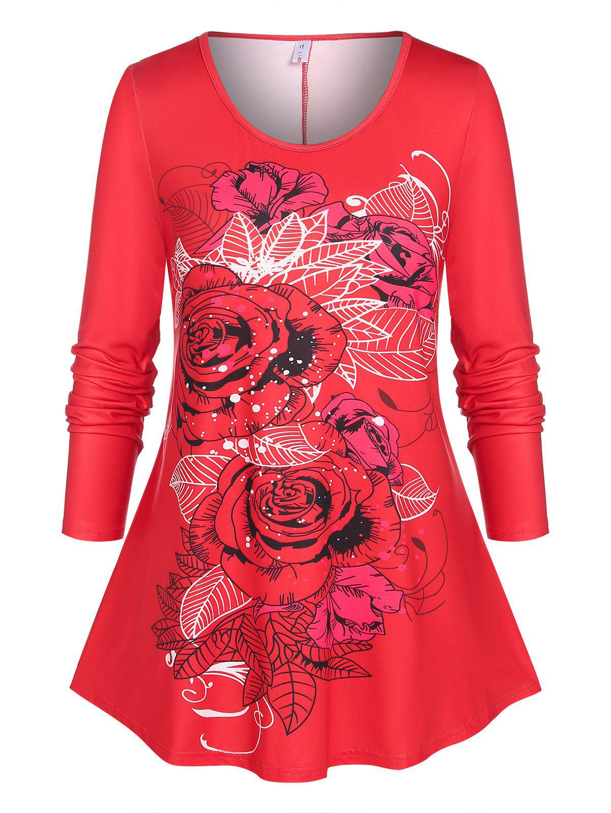 Plus Size Basic Floral Print T-shirt - RED 5X