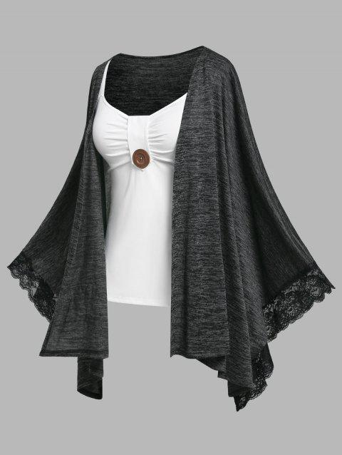 Plus Size Batwing Sleeve Lace Trim Handkerchief Cardigan and Tank Top