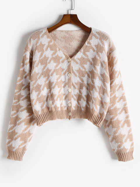 Plus Size V Neck Houndstooth Button Up Cardigan