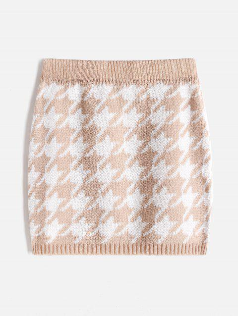 Plus Size Houndstooth Knit Skirt