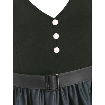 Ombre Mock Button Belted Dress