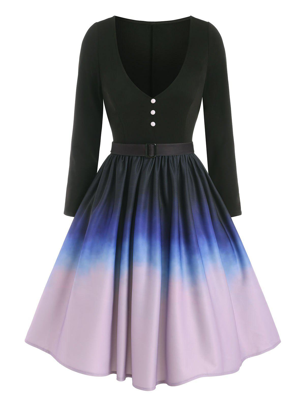 Ombre Mock Button Belted Dress - BLACK 2XL