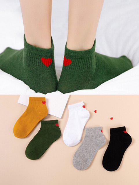 5 Pairs Heart Print Ribbed Ankle Socks