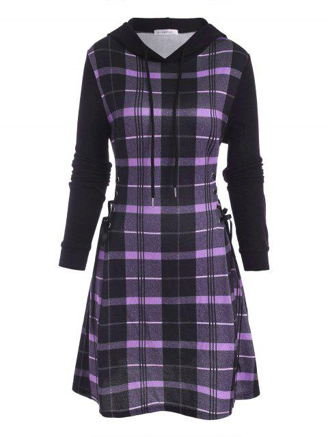 Plaid Hooded Lace Up Jersey Dress