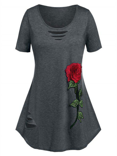 Plus Size Rose Flower Embroidered Ripped Tunic Tee