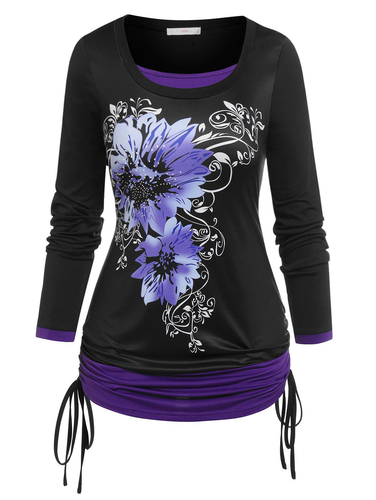 Plus Size Floral Print Cinched 2 in 1 Tee - BLACK 5X