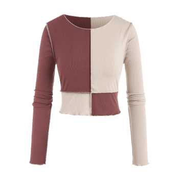Plus Size Topstitching Colorblock Ribbed Crop Top