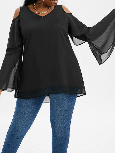 Plus Size Open Shoulder Layered Bell Sleeve High Low Top