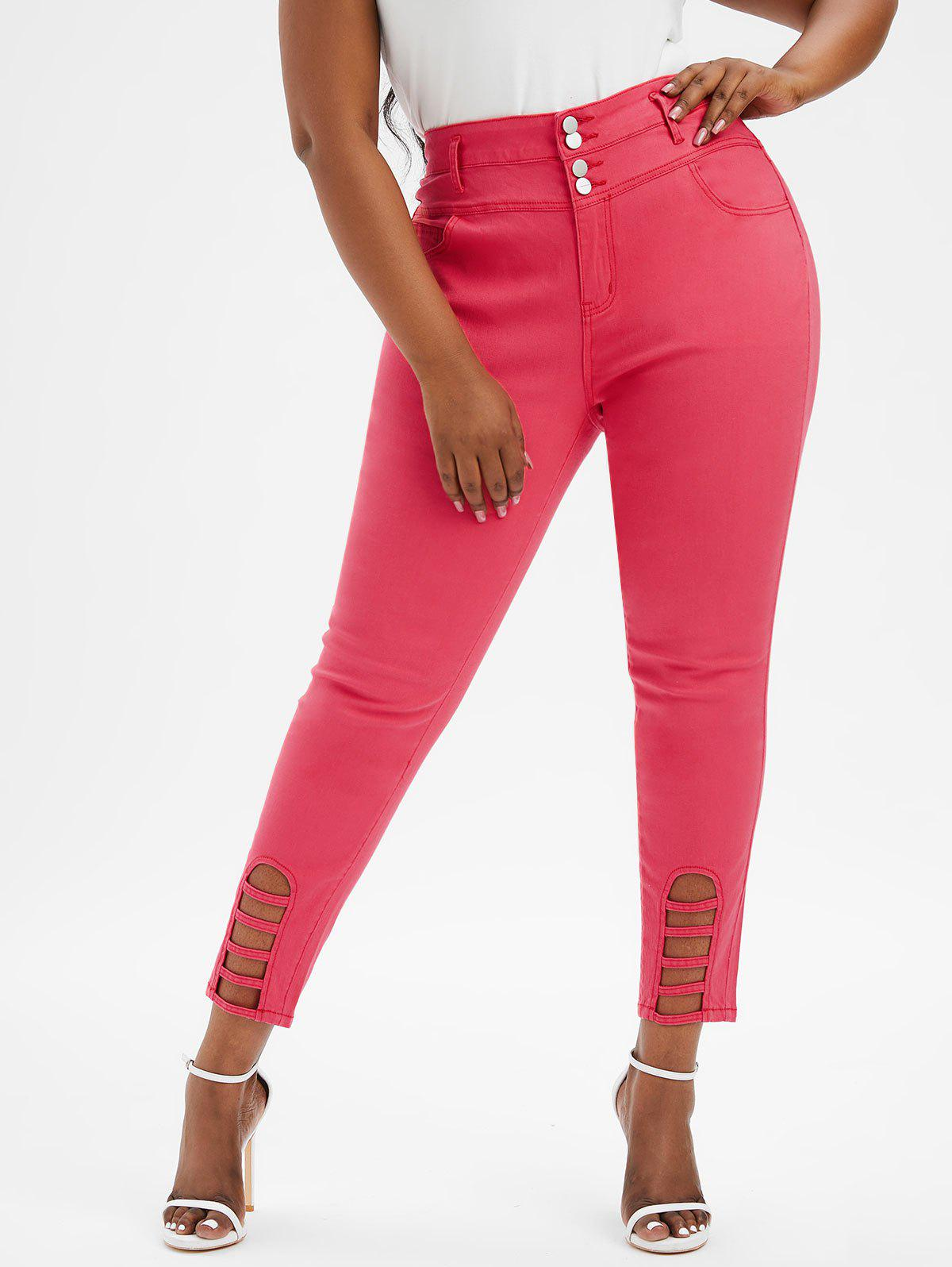 Plus Size High Rise Ladder Cut Jeans - RED 5X