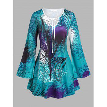 Plus Size Bell Sleeve Feather Print T-shirt