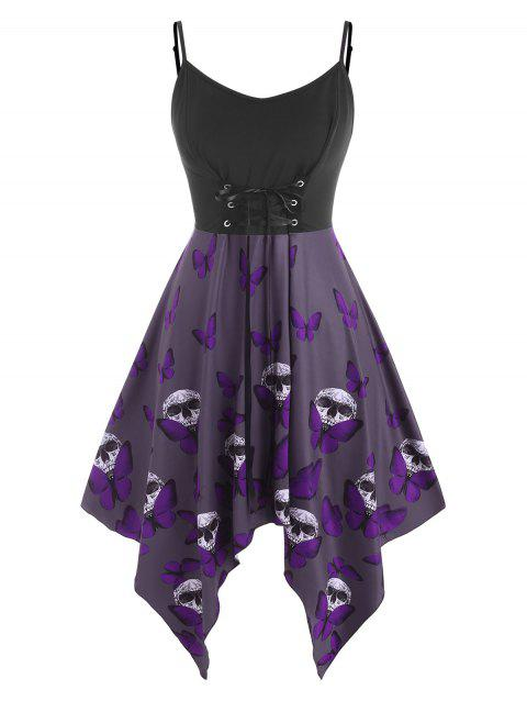 Lace Up Butterfly Skull Halloween Plus Size Cami Dress
