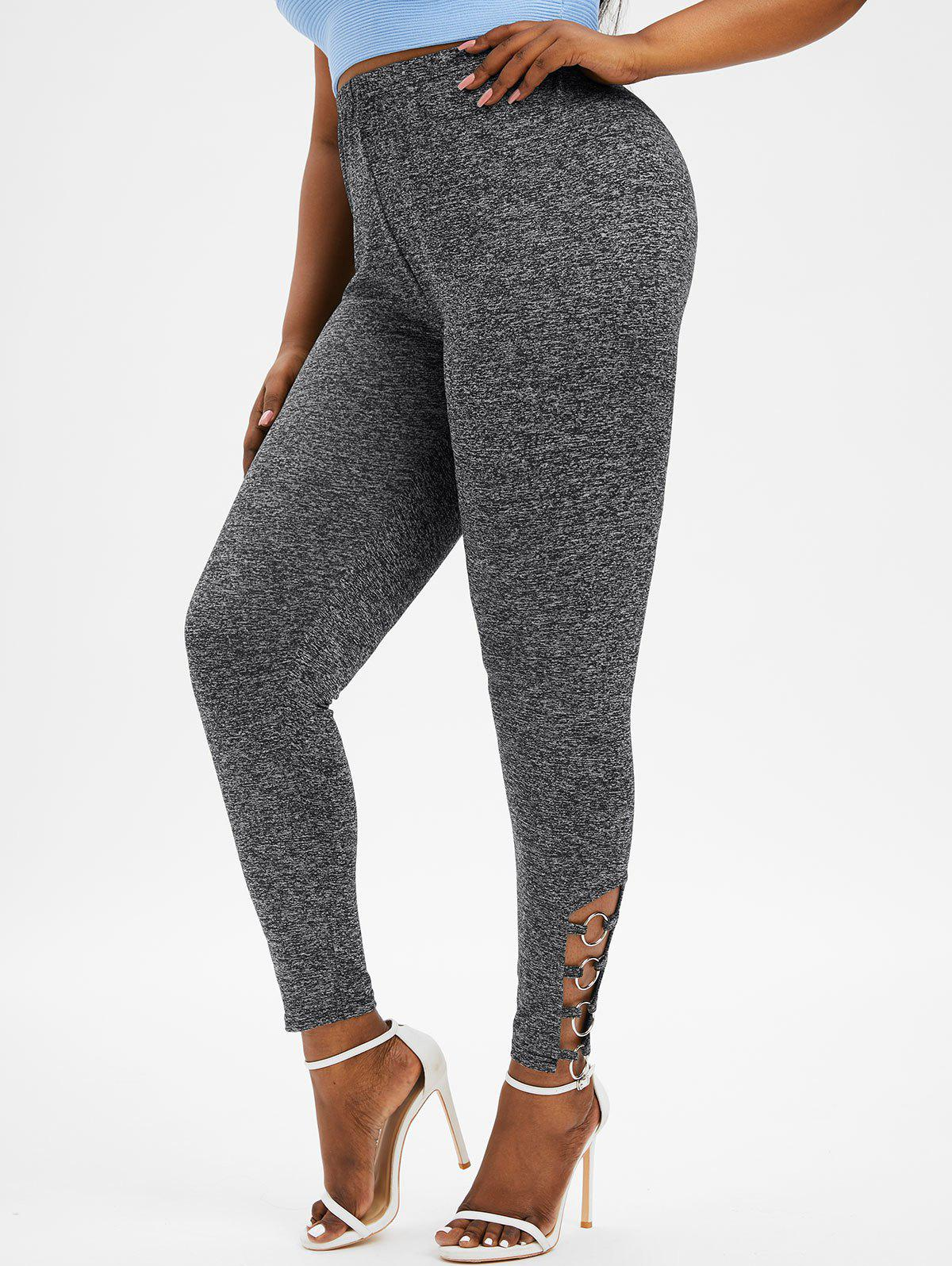 Plus Size Ladder Cut Ring Embellished Heather Pants - GRAY 1X