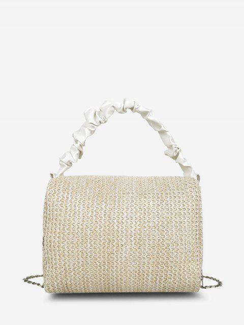 Ruched Handle Woven Crossbody Bag