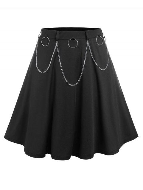 Plus Size O Ring Chain A Line Skirt