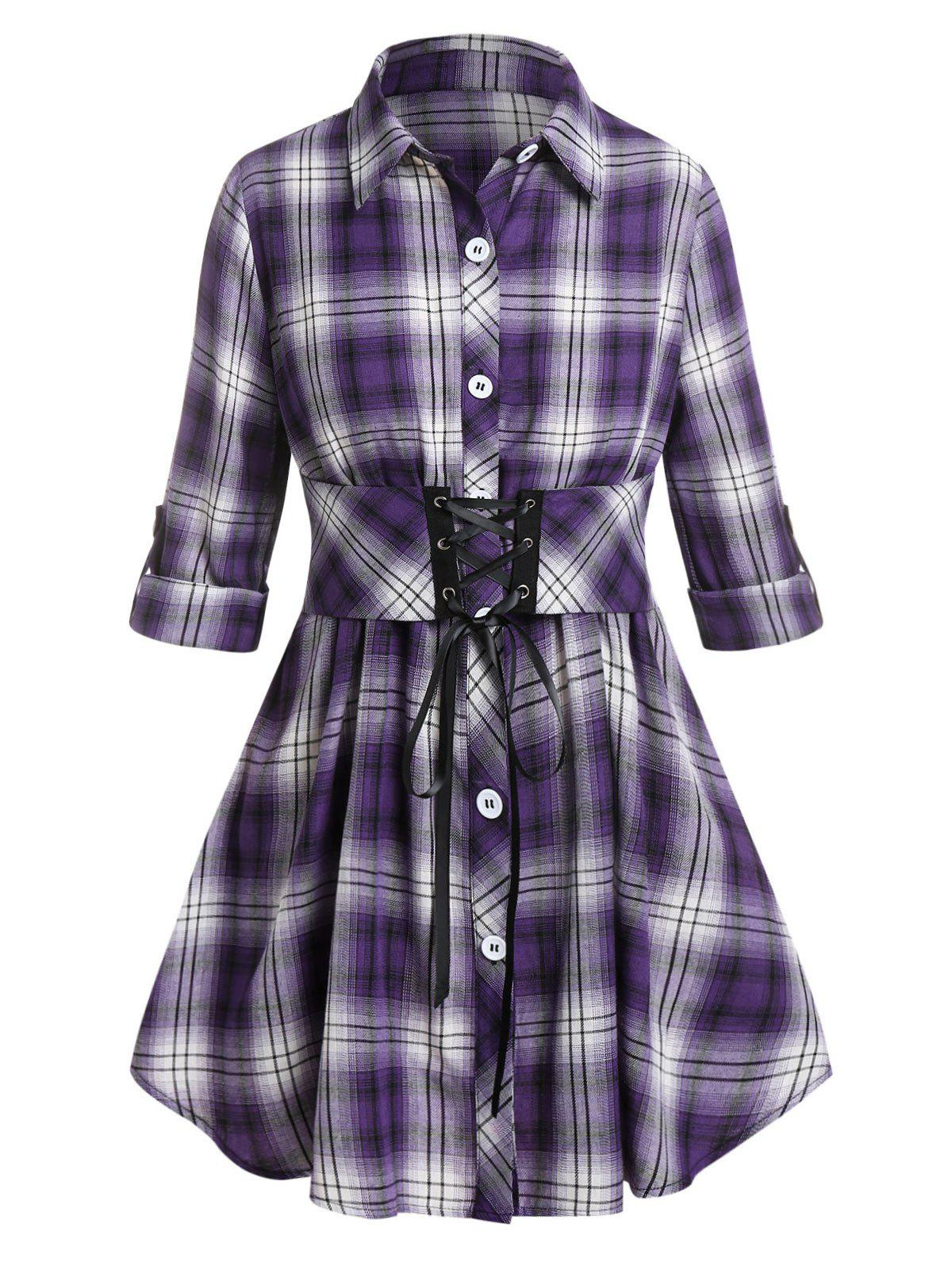 Plus Size Plaid Lace-up Roll Up Sleeve Blouse - CONCORD 5X